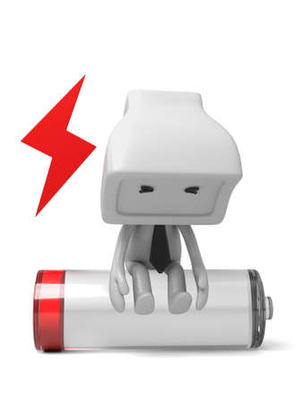 3d puppet: 3d puppet sitting on a battery tired.  3d image. Isolated white background