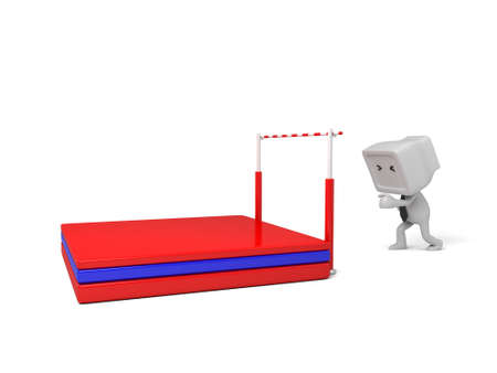3d people high jump. 3d image. Isolated white background Stock Photo