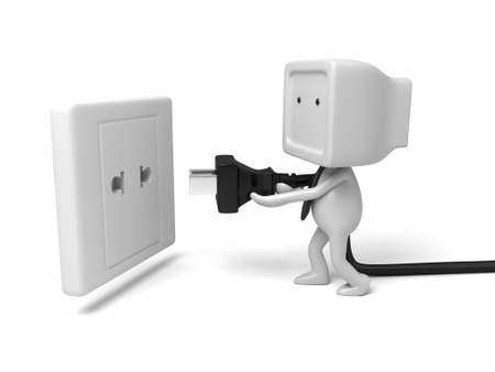 3d people with an electric plug. 3d image. Isolated white background Stock Photo