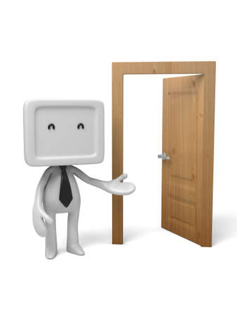 to decide: 3d people standing next to a door. 3d image. Isolated white background. Stock Photo