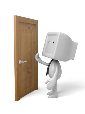 3d people standing next to a door. 3d image. Isolated white background. Stock fotó