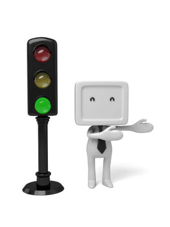 semaphore: 3d people with a traffic light. 3d image. Isolated white background.
