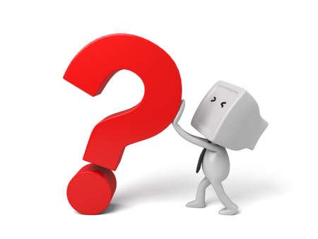 3d people with a large question mark. 3d image. Isolated white background