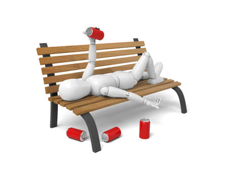 3d lying on a bench with some beer. 3d image. Isolated white background