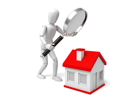 real estate people: 3d people with a magnifying glass and a house. Search new house Stock Photo