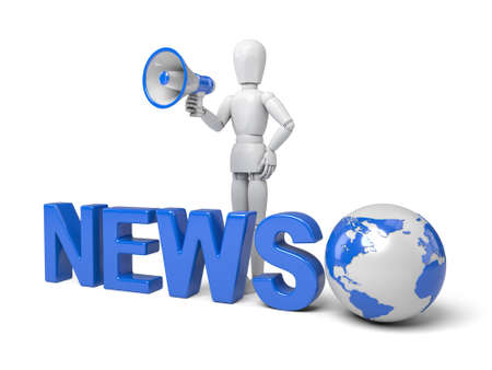 international news: 3d people with a word, news concept. 3d image. Isolated white background.