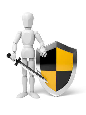3d people with a shield and a sword, 3d image. Isolated white background. Imagens