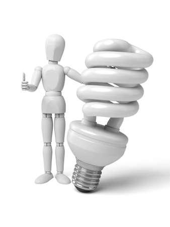 saver bulb: Gente 3d con una bombilla. Imagen en 3D. Fondo blanco aislado