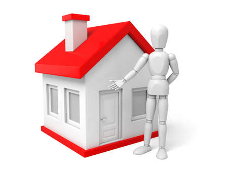 opportunity: A 3d people standing near to the new house. 3d image. Isolated white background