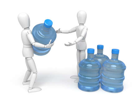 man drinking water: A 3d people with a water bottle. 3d image. Isolated white background Stock Photo