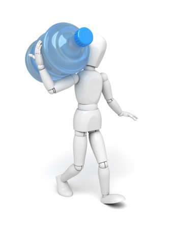 water jug: A 3d people with a water bottle. 3d image. Isolated white background Stock Photo
