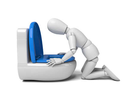 sad cartoon: A 3d people vomiting to a toilet.3d image. Isolated white background