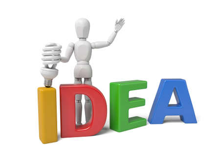 3d people with a bulb thinking. 3d image. Isolated white background Imagens