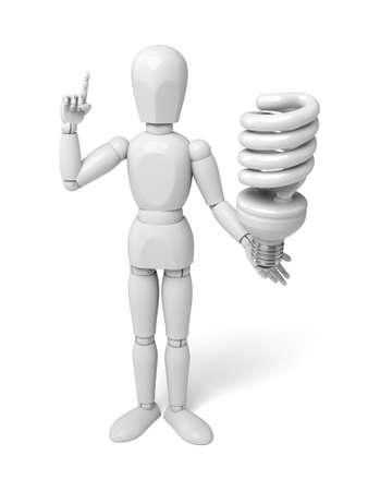 bombillo ahorrador: Gente 3d con una bombilla. Imagen en 3D. Fondo blanco aislado