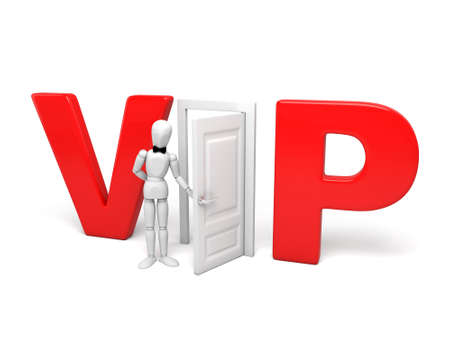prestige: 3d people standing in front of the VIP door. 3d image. Isolated white background