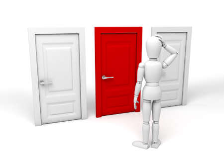choose person: 3d people standing in front of three different doors. 3d image. Isolated white background