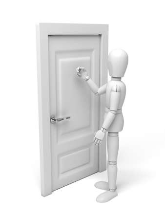 knock: 3d people knock at the door. 3d image. Isolated white background