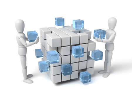 building block: 3d people with some cubes. 3d image. Isolated white background