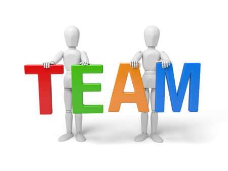 3d people holding hands in the word team. 3d image. Isolated white background.