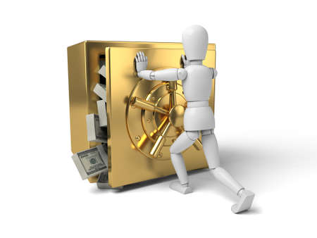 3d people with a big safe. 3d image. Isolated white background