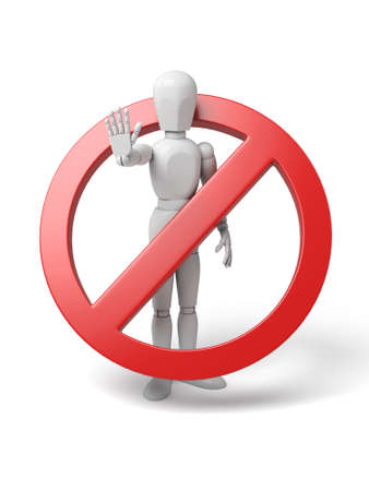 3d human with red stop sign on white background