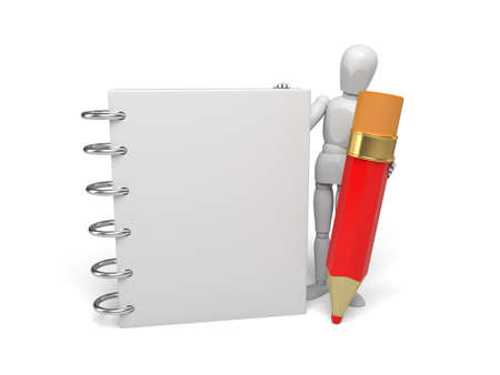 3d small person with a clipboard. 3d image. Isolated white background photo