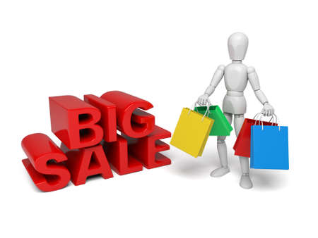 3d people with some shopping bag. 3d image. Isolated white background.