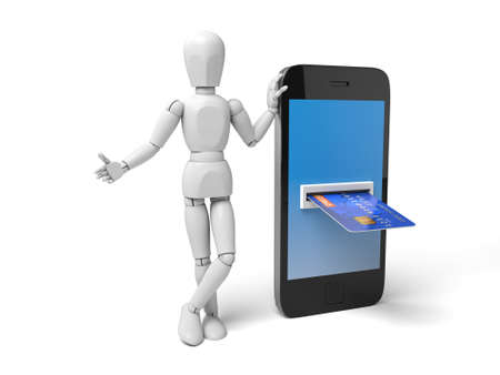 automatic transaction machine: A la gente 3d con un tel�fono, una tarjeta de cr�dito en el mismo. Imagen en 3D. Fondo blanco aislado