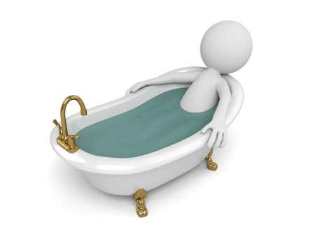 3d mensen nemen een bad in een bad. 3d beeld. Geïsoleerde witte achtergrond Stockfoto