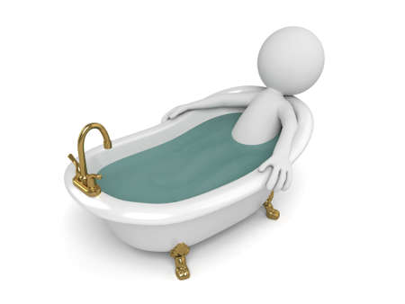 bath tub: 3d people take a bath in a tub. 3d image. Isolated white background