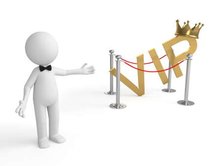 advantages: 3d people standing with a word of VIP. 3d image. Isolated white background