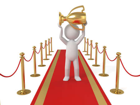 red carpet background: 3d people standing on the red carpet with a gold cup. 3d image. Isolated white background
