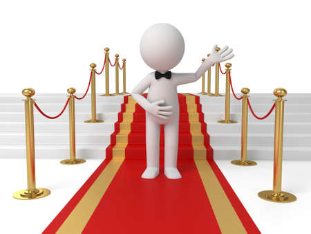 red carpet background: 3d people standing on the red carpet. 3d image. Isolated white background
