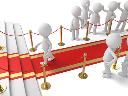 3d people walking on the red carpet. 3d image. Isolated white background photo