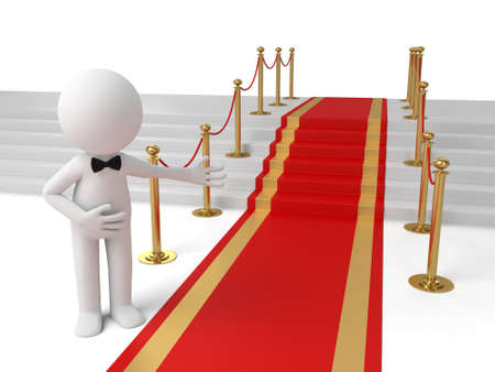 3d people standing on the red carpet. 3d image. Isolated white background photo