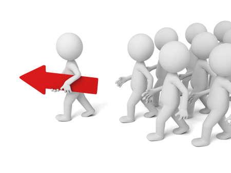 빨간색 화살표와 함께 산책하는 3D 사람. 3D 이미지. 격리 된 흰색 배경