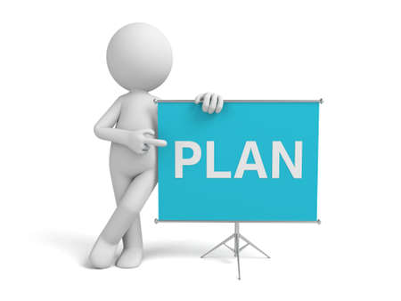 flipchart: a 3d man introducing something about plan, standing by a flip-chart