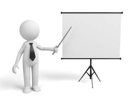 flipchart: a 3d man introducing something, standing by a flip-chart Stock Photo