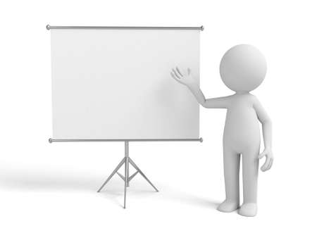 flip chart: a 3d man introducing something, standing by a flip-chart Stock Photo