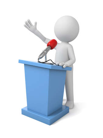lectern: 3d people make a speech. 3d image. Isolated white background