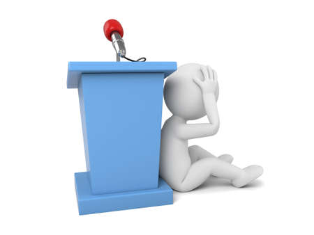 3d people make a speech. 3d image. Isolated white background