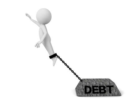 obligation: 3d people with a heavy stone, debt. 3d image. Isolated white background