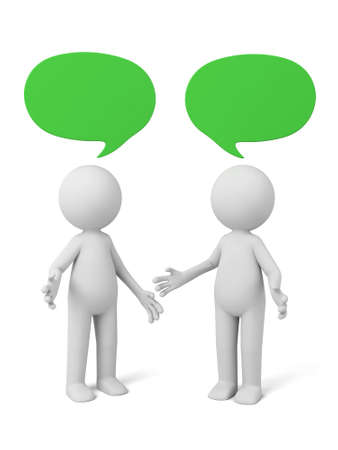 people communicating: 3d people talking with speech bubbles. 3d image. Isolated white background.