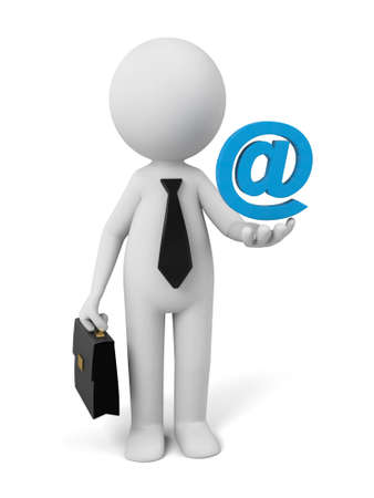 A 3d people with a email symbol. 3d image. Isolated white background Stock Photo