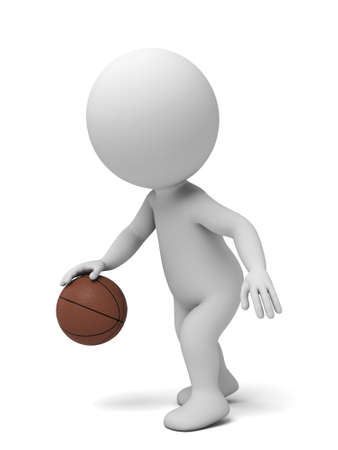 A 3d people playing basketball. 3d image. Isolated white background photo