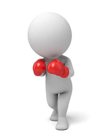 beat the competition: 3d people with red boxing gloves. 3d image. Isolated white background Stock Photo