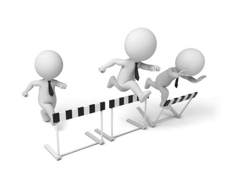 hurdle: 3d people jumping over some hurdle obstacles. 3d image. Isolated white background