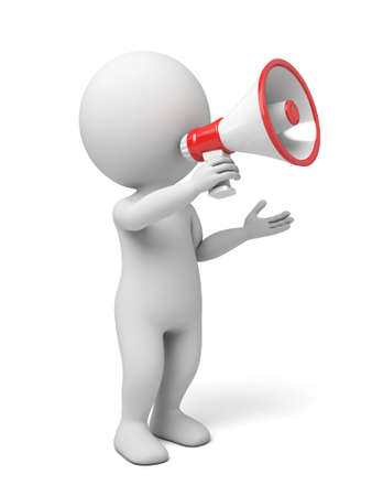 assert: 3d people holding a megaphone, 3d image. Isolated white background.
