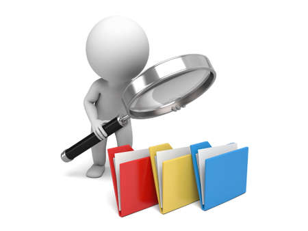 3d people examine some files with a magnifier. 3d image. Isolated white background