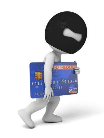 Een dief met een grote credit card. 3d beeld. Geïsoleerde witte achtergrond Stockfoto